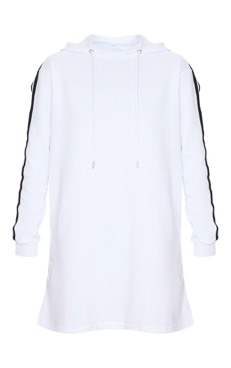 White Tape Detail Long Sleeve Hoodie Dress 3