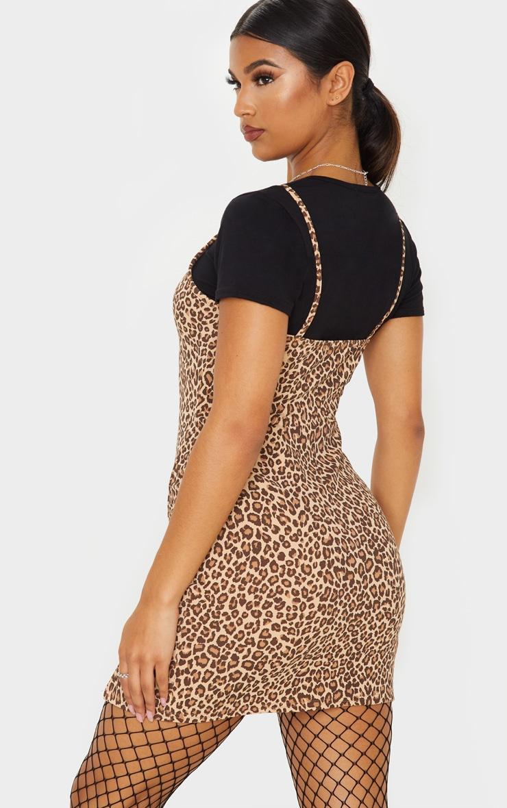 Brown Leopard Print 2 In 1 Strappy Split Front Shift Dress 2