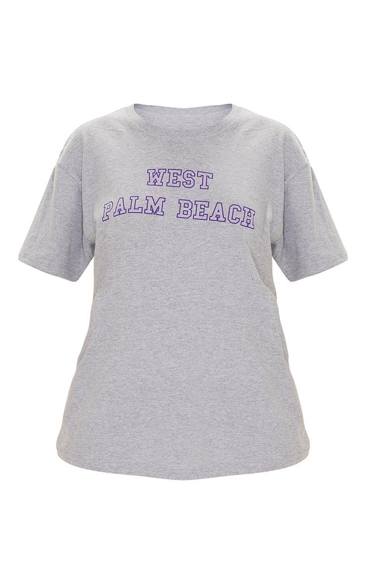 Grey West Palm Beach Print T Shirt 5