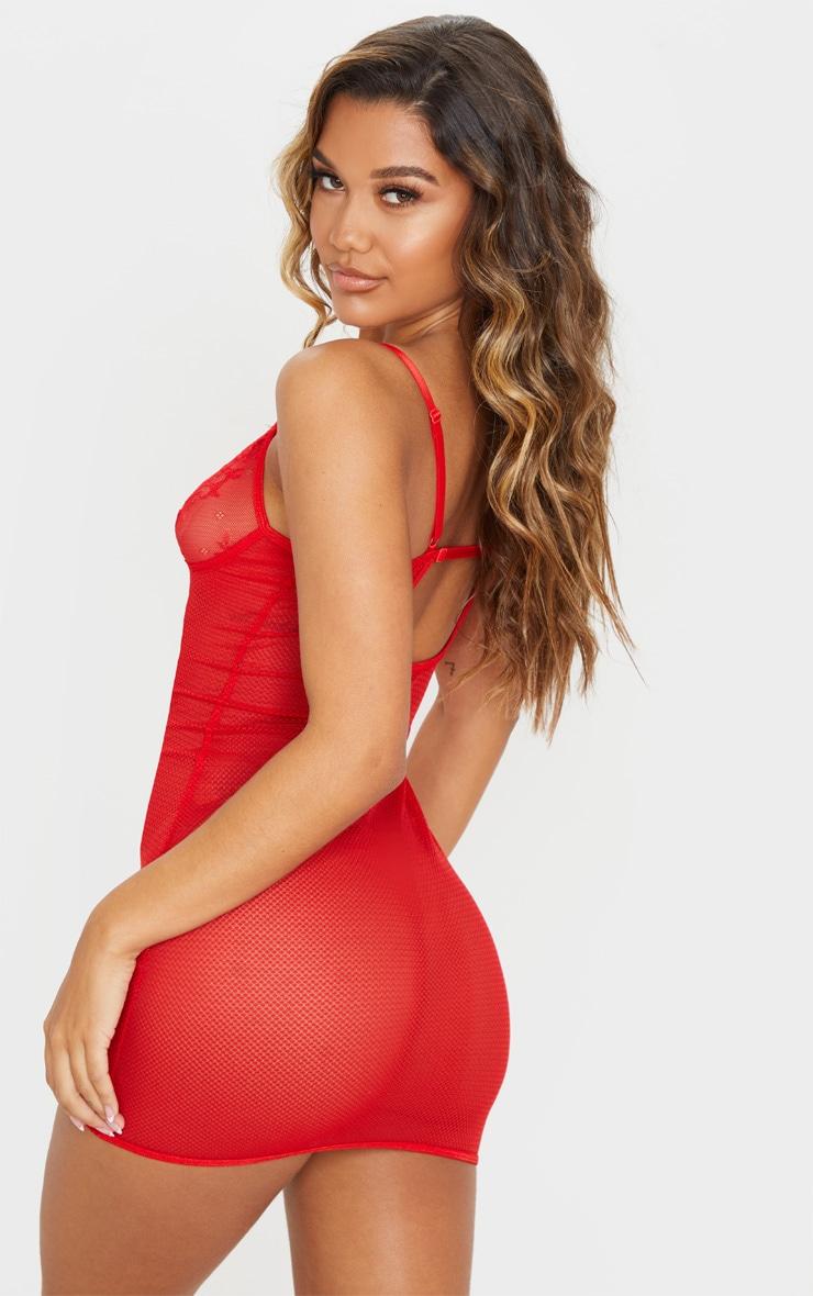 Red Satin Insert Fishnet Slip Dress 2