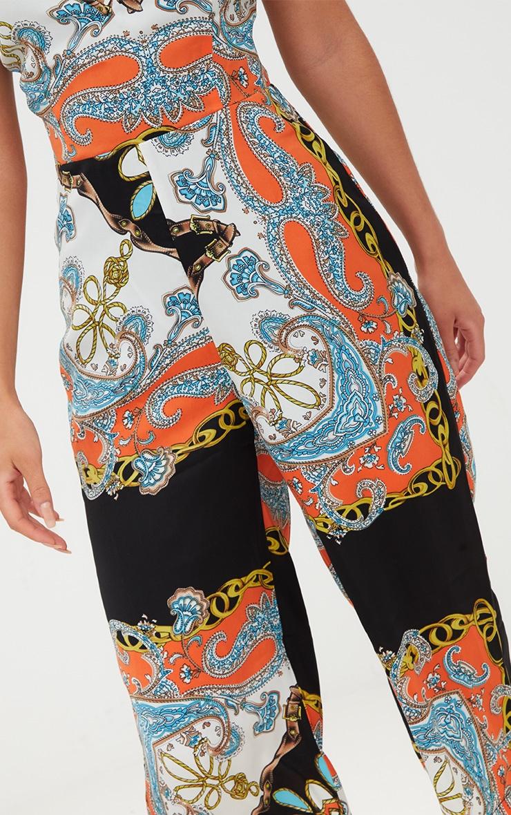 Black Scarf Print Plunge Culotte Jumpsuit 5