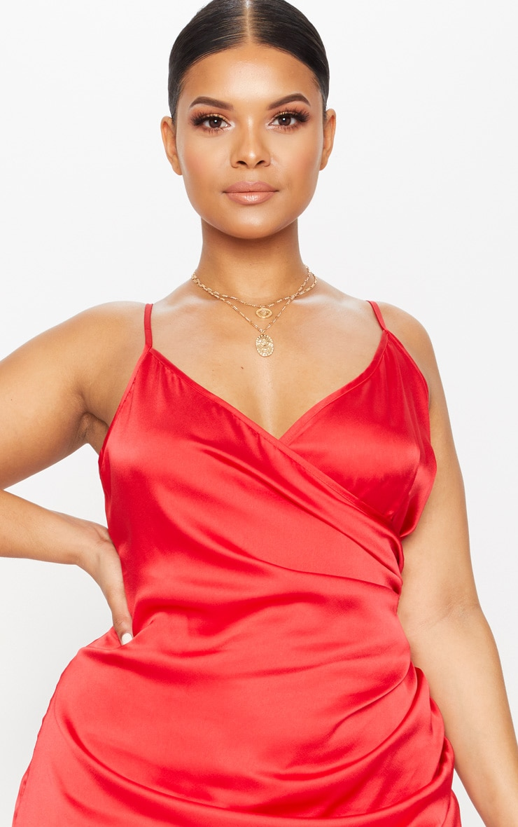 Red Plus Satin Wrap Dress 5