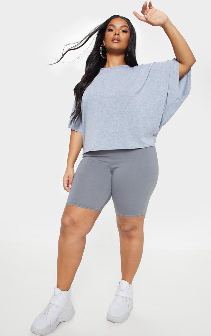 PLT Plus - T-shirt basique en jersey gris chiné à manches chauve-souris 4