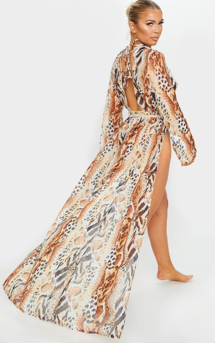 Animal Backless Tie Waist Beach Kimono 1