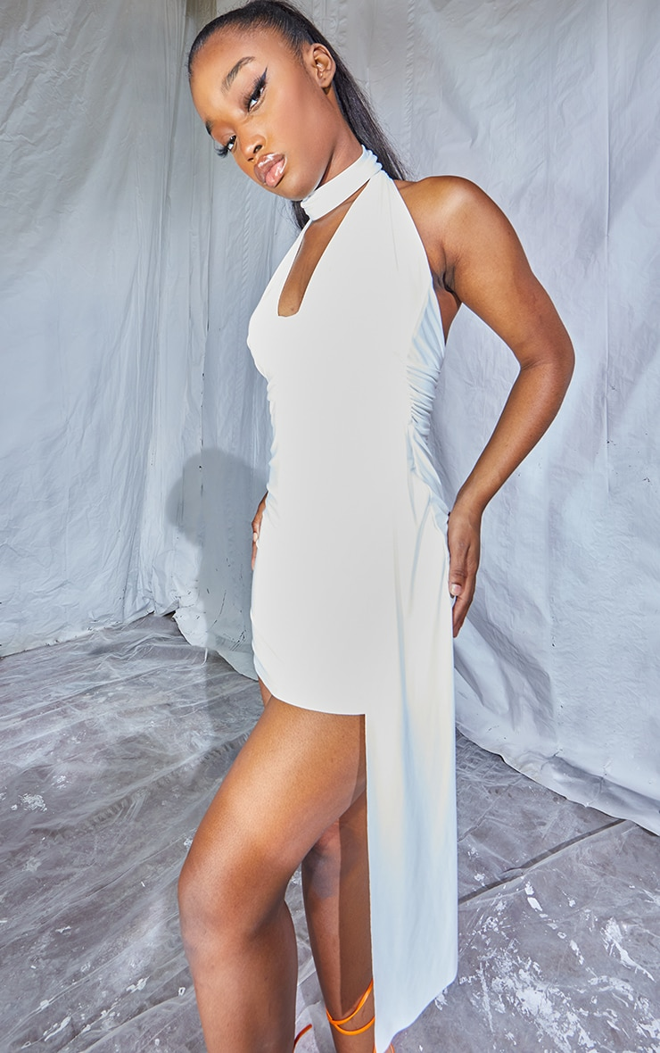Cream Slinky Halterneck Drape Detail Bodycon Dress 4