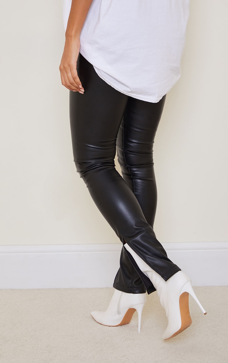 Black Faux Leather Split Hem Straight Leg Pants 3