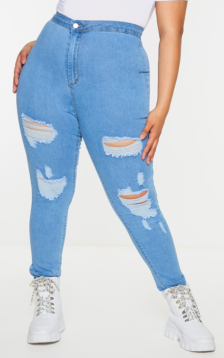 PRETTYLITTLETHING Plus Light Wash Ripped Disco Skinny Jeans 2