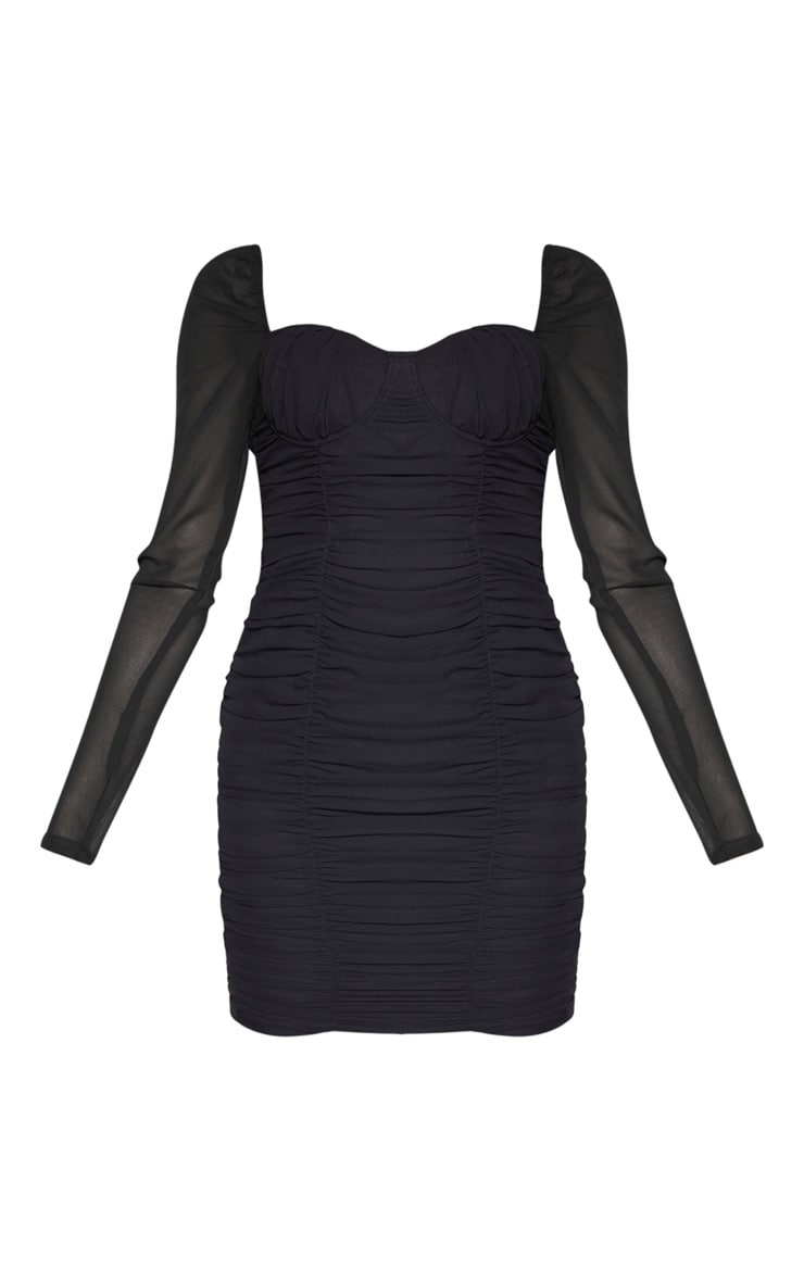 Tall Black Ruched Mini Dress 3