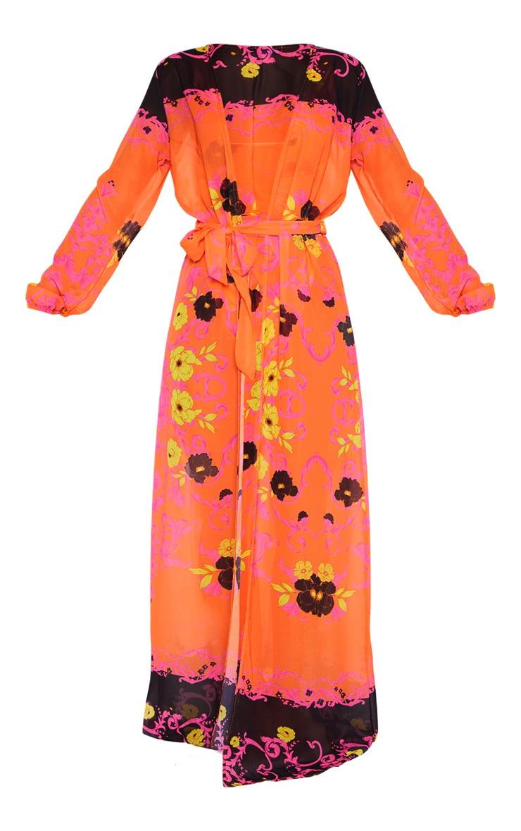 Pink Floral Baroque Tie Waist Kimono 3