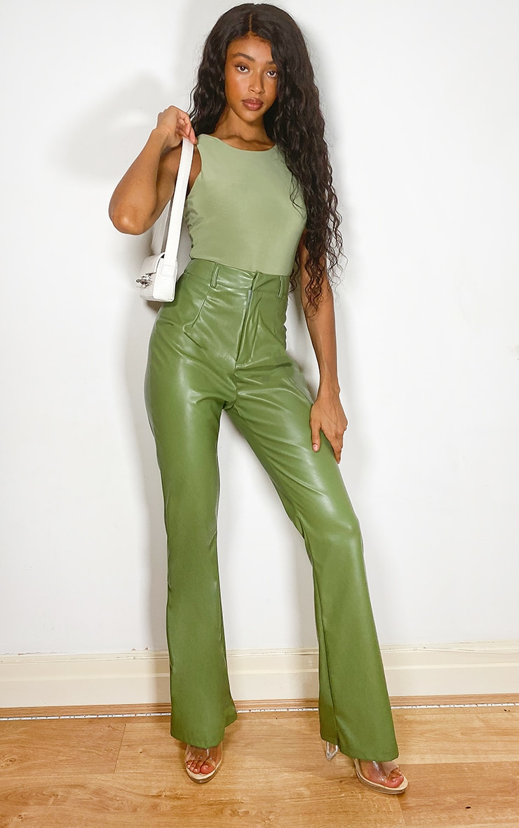 Sage Green Slinky Racer Sleeveless Bodysuit 3