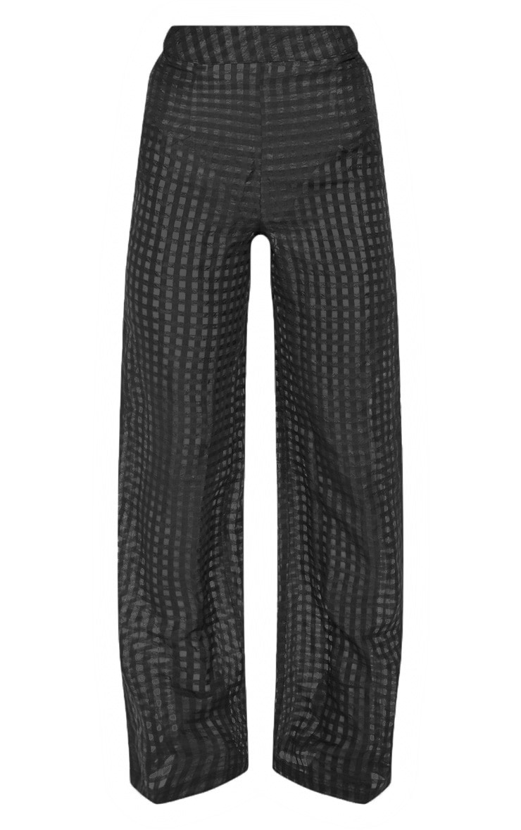 Black Sheer Check Wide Leg Trouser 3