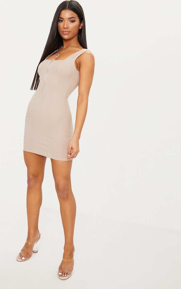 Stone Bandage Zip Detail Square Neck Bodycon Dress 4