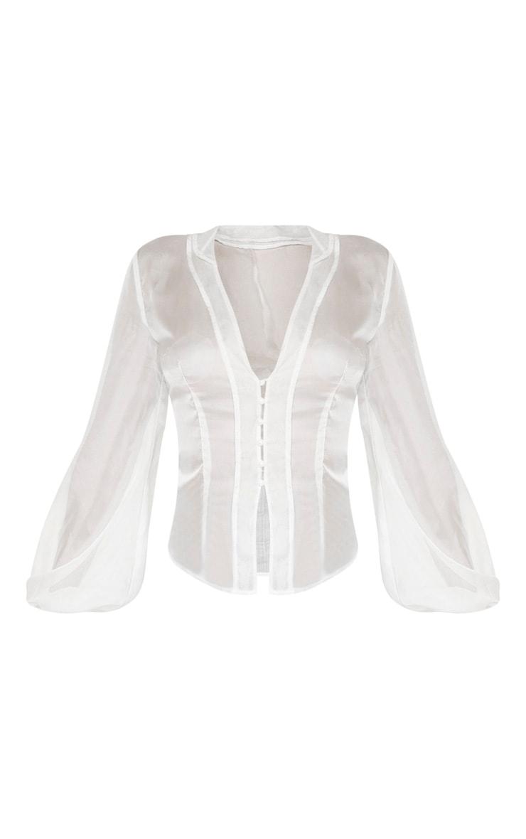 White Sheer Ruffle Collar Shirt  4