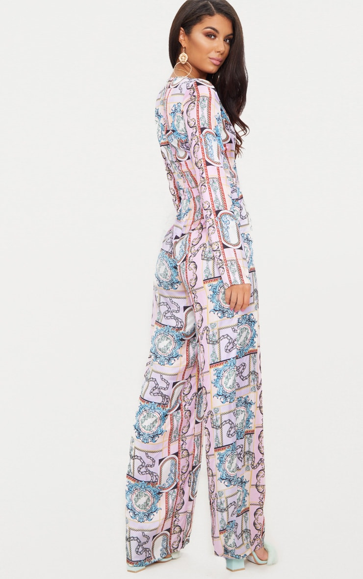 Lilac Scarf Print Long Sleeve Plunge Jumpsuit 3