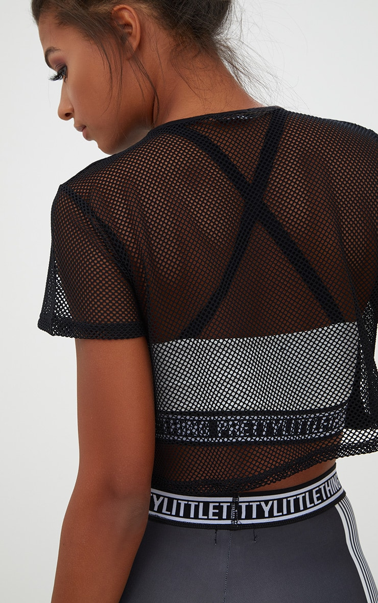 Black Fishnet & Jersey Crop Top 5