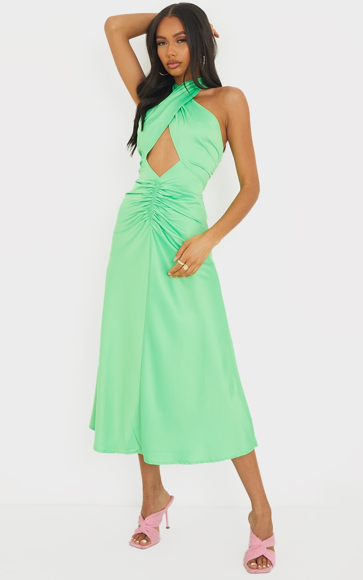 Lime Satin Halterneck Ruched Cut Out Midi Dress 1
