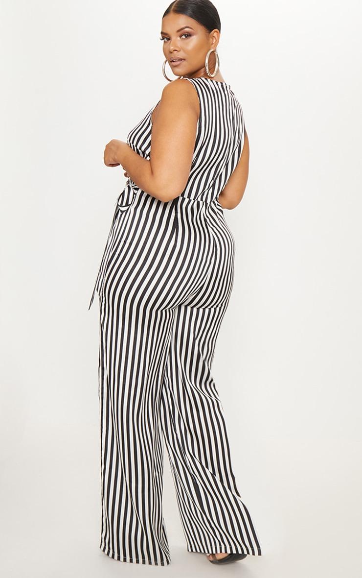Plus Black Striped Wrap Wide Leg Jumpsuit 2