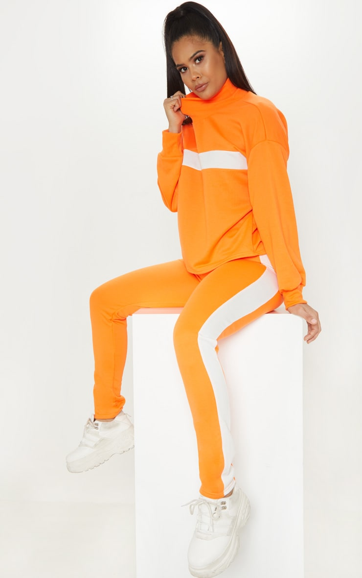 Neon Orange Roll Neck Contrast Stripe Sweat 4