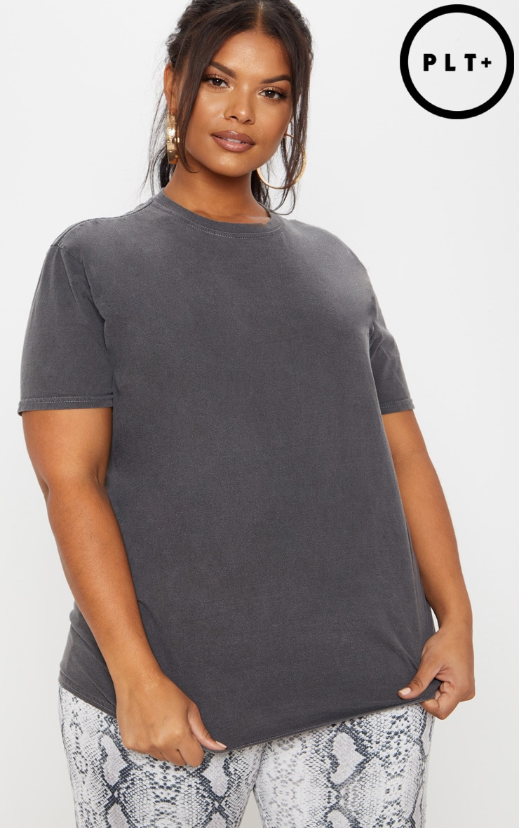 Plus Charcoal Acid Wash Oversized T-shirt