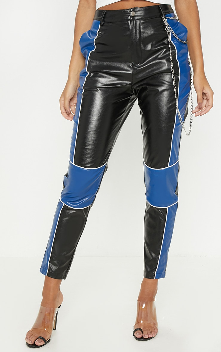 Black Faux Leather Contrast Panel Skinny Trouser  2