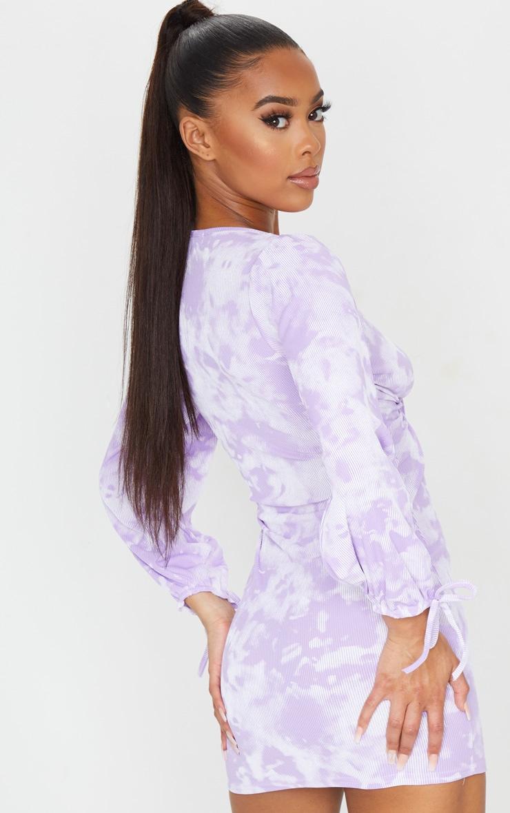 Lilac Tie Dye Print Tie Front Detail Long Sleeve Bodycon Dress 2