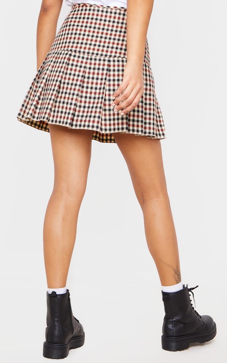 Stone Check Woven Pleated Mini Skirt 4