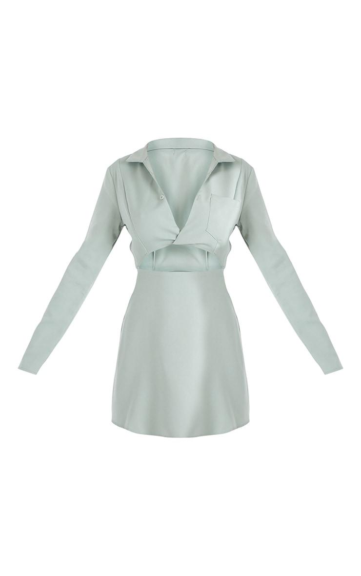 Sage Green Cut Out Collar Detail Bodycon Dress 5