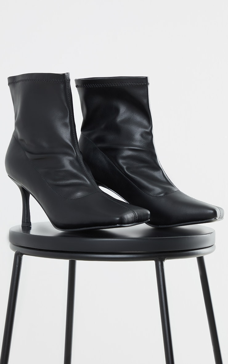 Black PU Extreme Square Toe Low Heeled Sock Boots 3