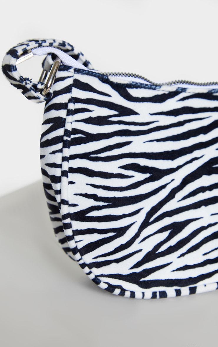 Monochrome Zebra Velvet Shoulder Bag 3