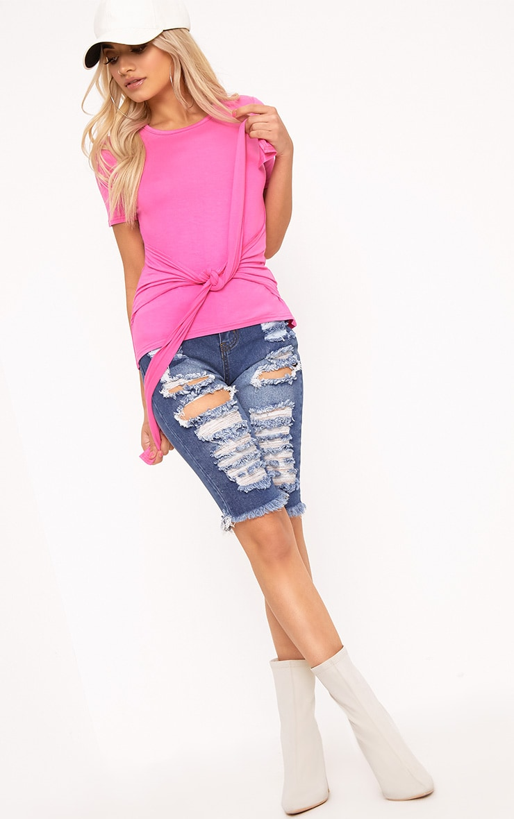 Hot Pink Tie Front T-Shirt 4