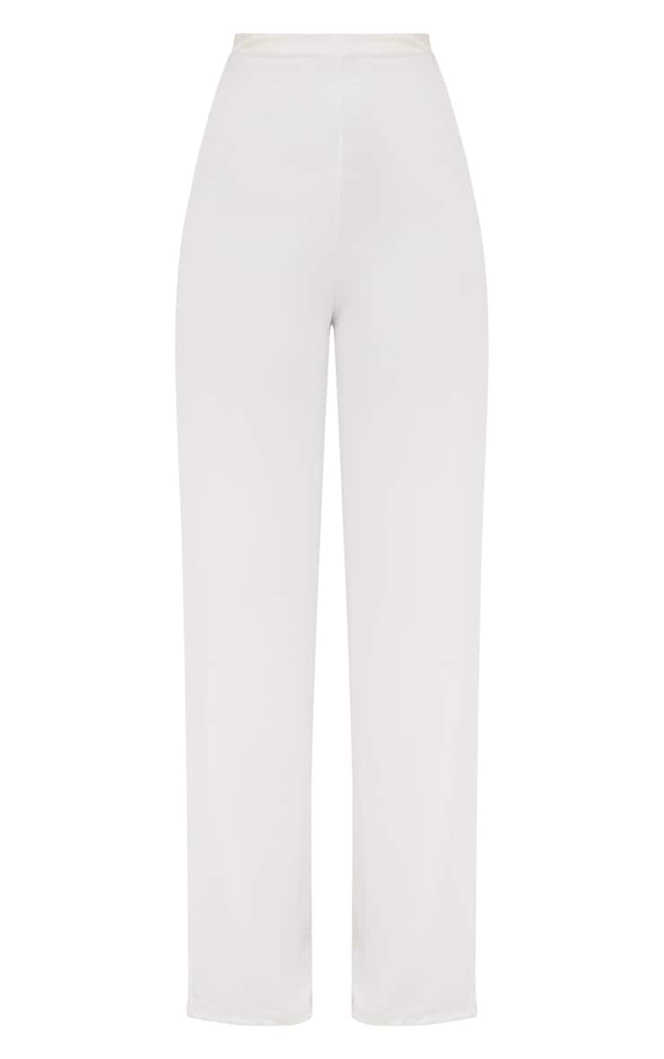 White High Waisted Wide Leg Trousers  4