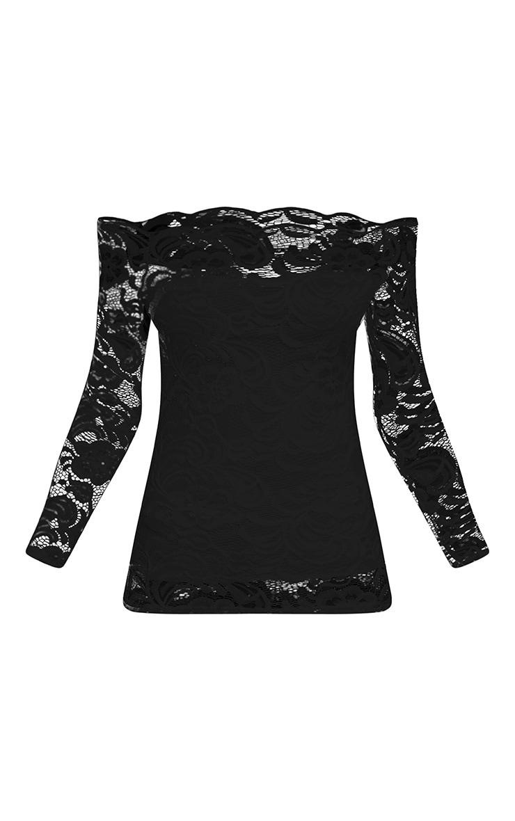 Kezia Black Lace Bardot Long Sleeve Top 3
