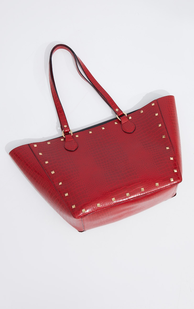 Red Croc Gold Studded Tote Bag 1
