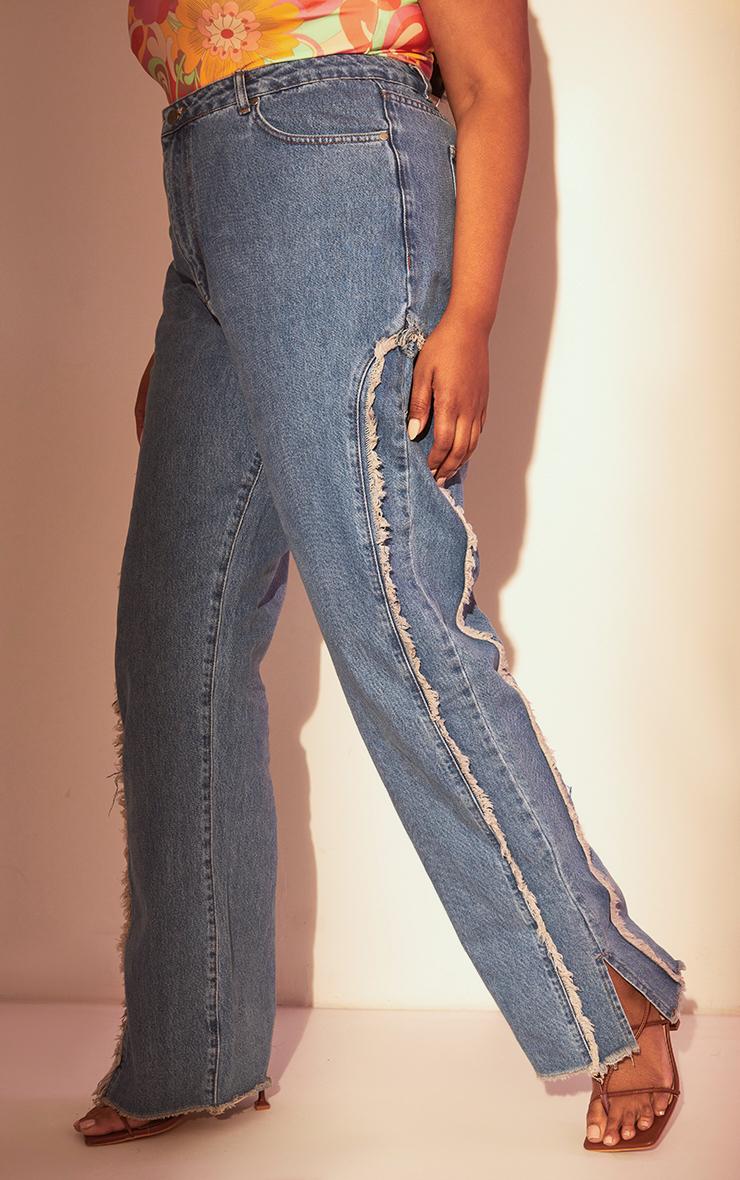 Plus Light Blue Wash Fray Detail Split Hem Jeans 2