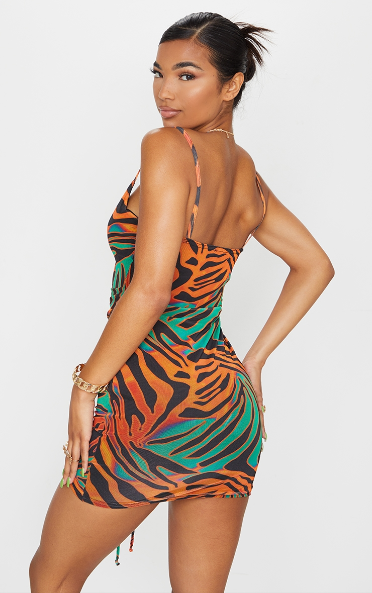 Multi Zebra Print Strappy Ruched Centre Bodycon Dress 2