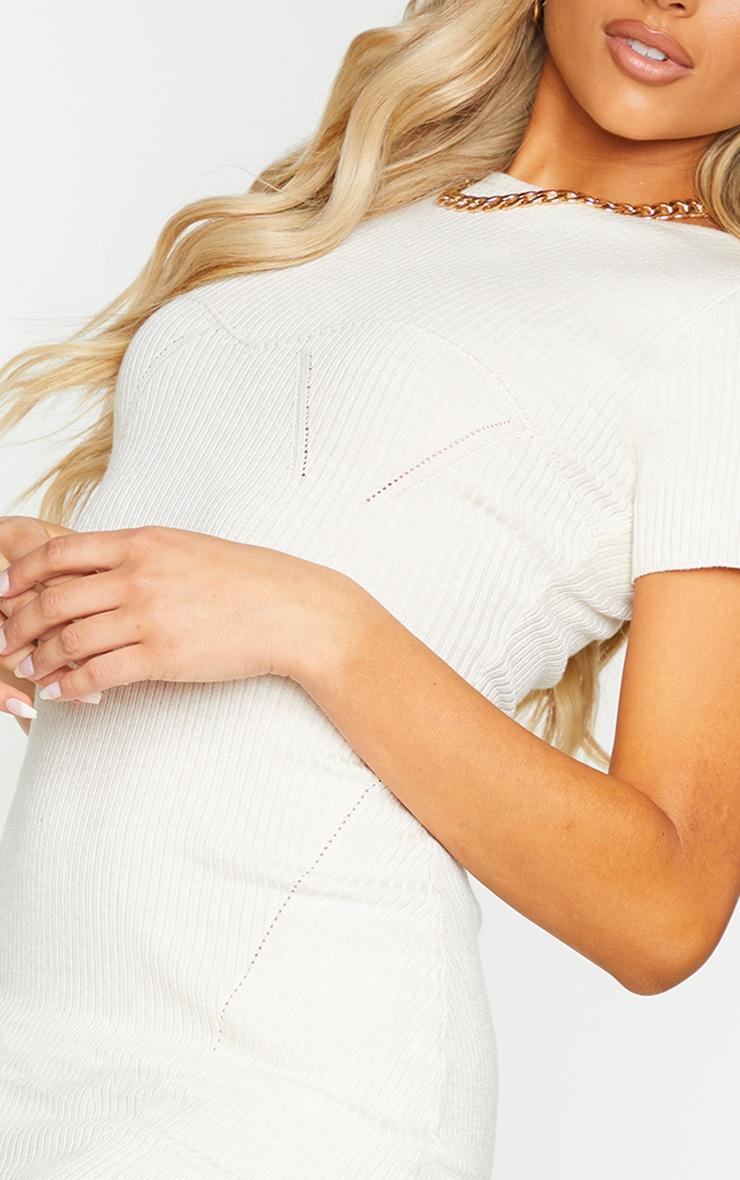 Cream Bust Detail Short Sleeve Knitted Mini Dress 4