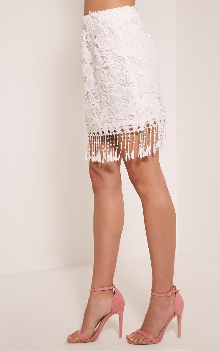 Faithlyn White Tassel Crochet Mini Skirt 4
