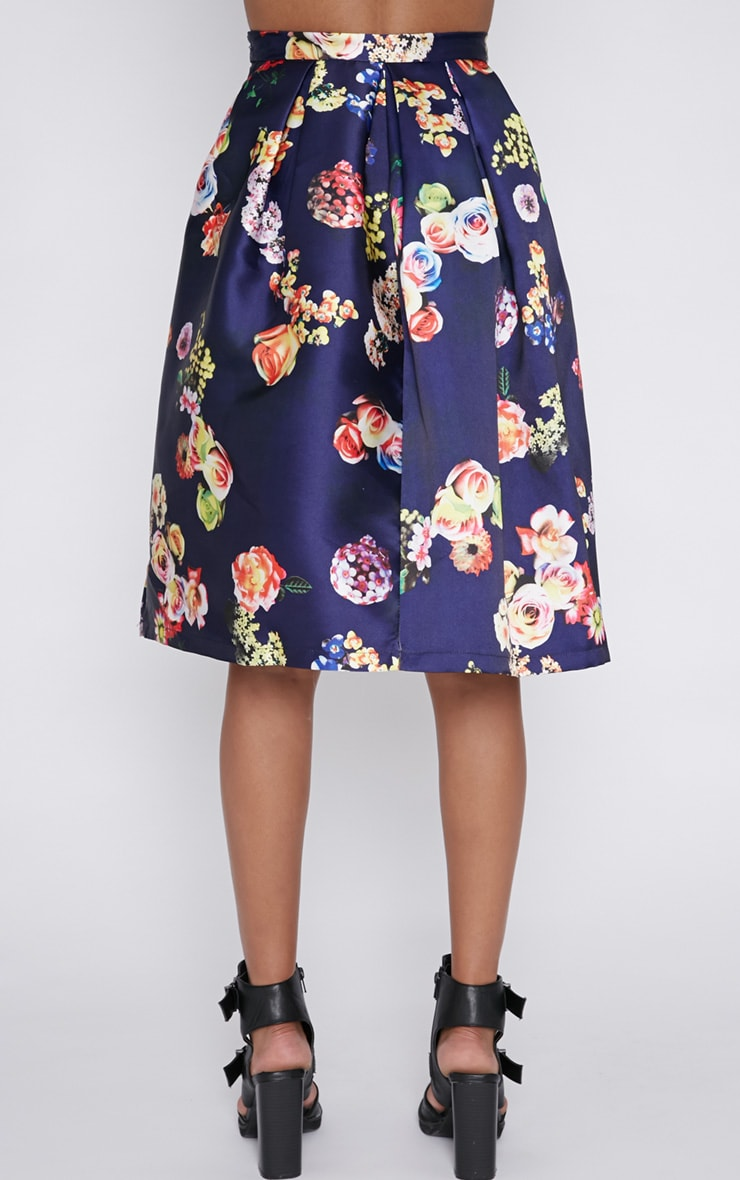 Harley Navy Floral Print A-Line Skirt 2