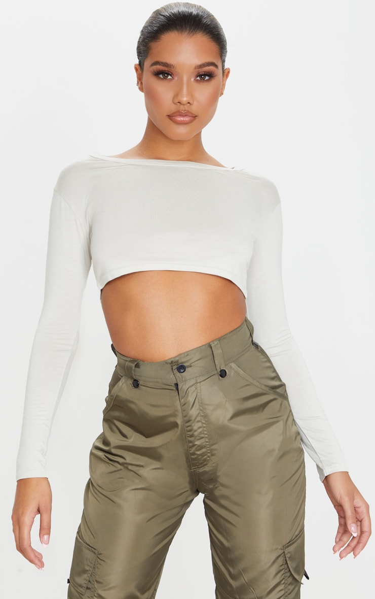 Basic Sand Jersey Crop Top 1