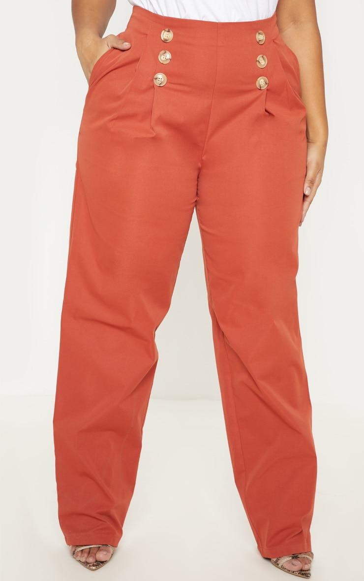PLT Plus - Pantalon ample rouille à détail boutons et pli 2