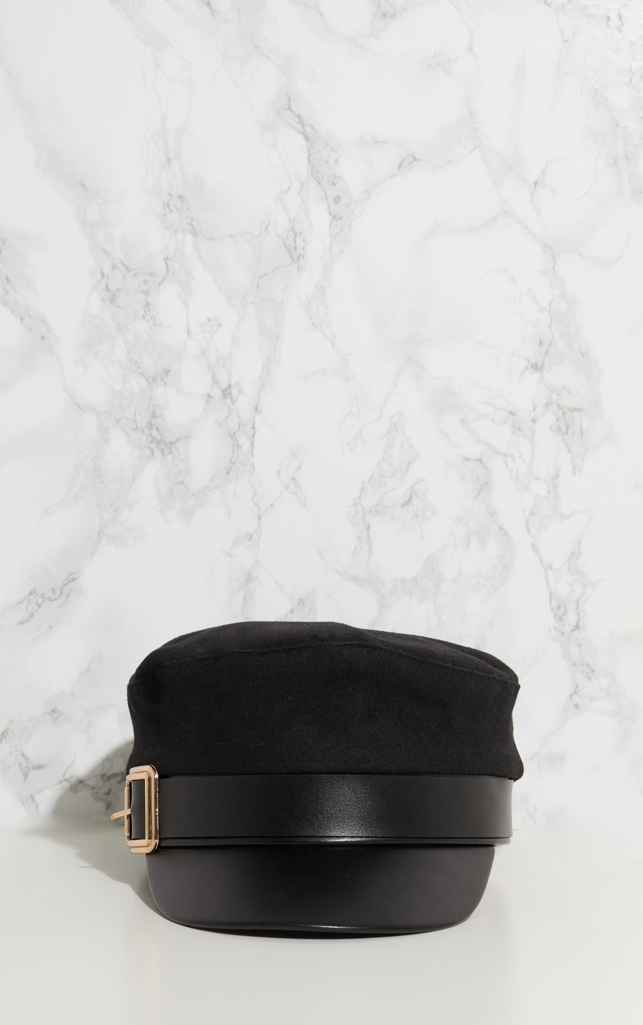 Black Buckle Baker Boy Hat 3