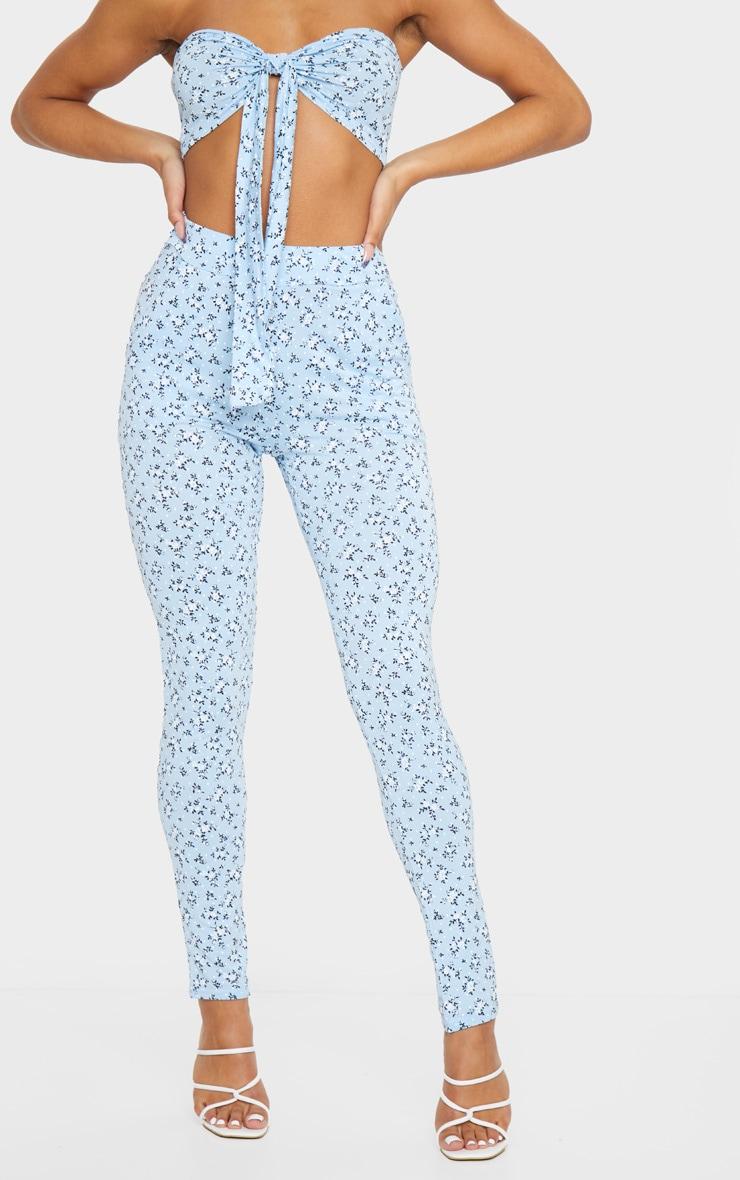 Blue Floral Printed Skinny Pants 2