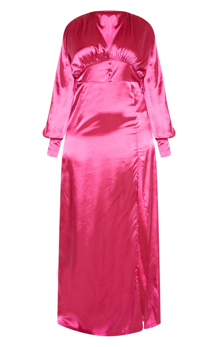 Plus Fuchsia Button Front Maxi Dress 3