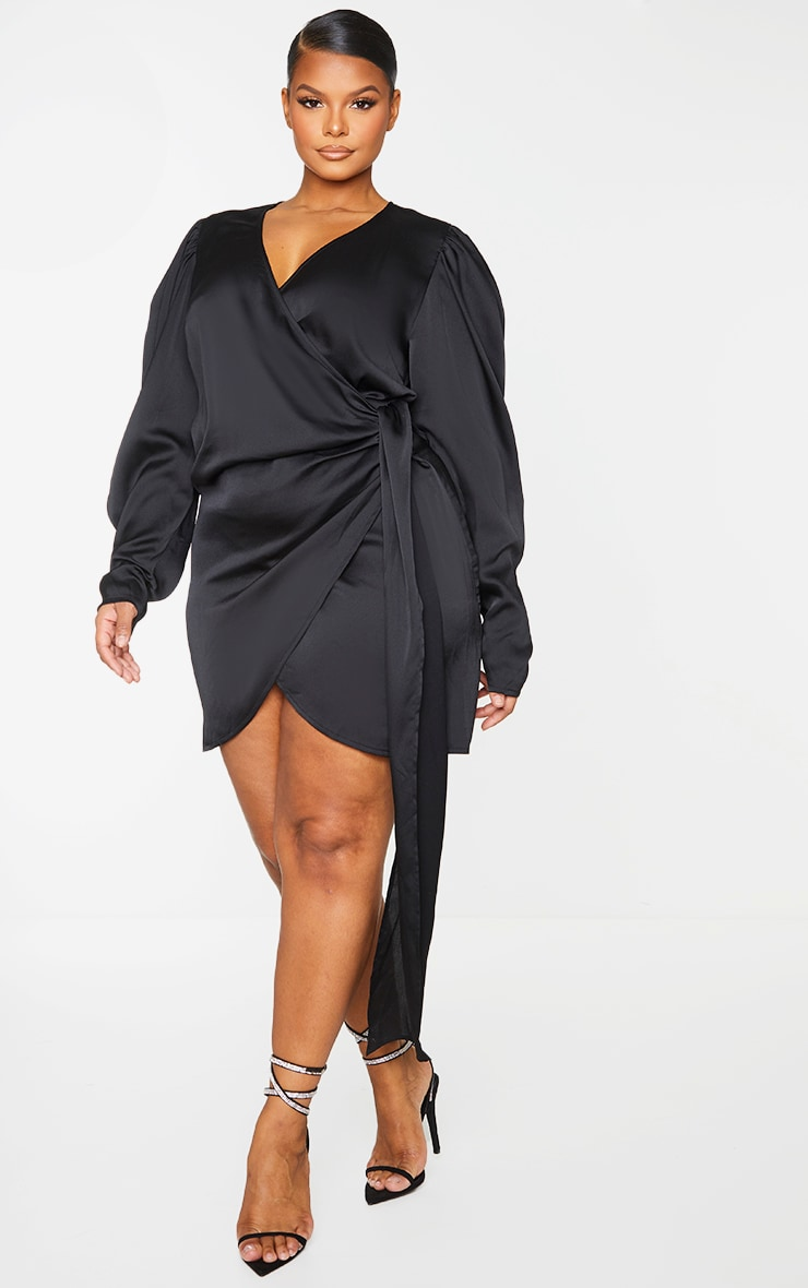 Plus Black Satin Puff Sleeve Wrap Dress 3