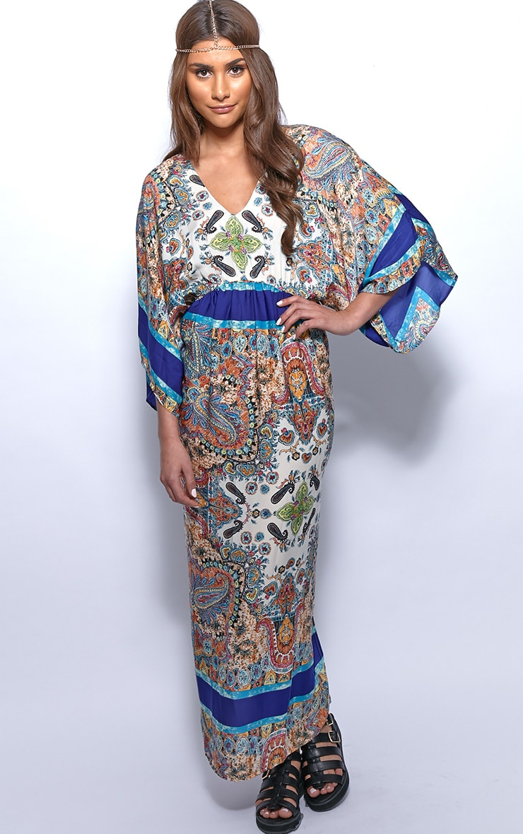 Molly Blue Paisley Print Maxi Kaftan Dress 3