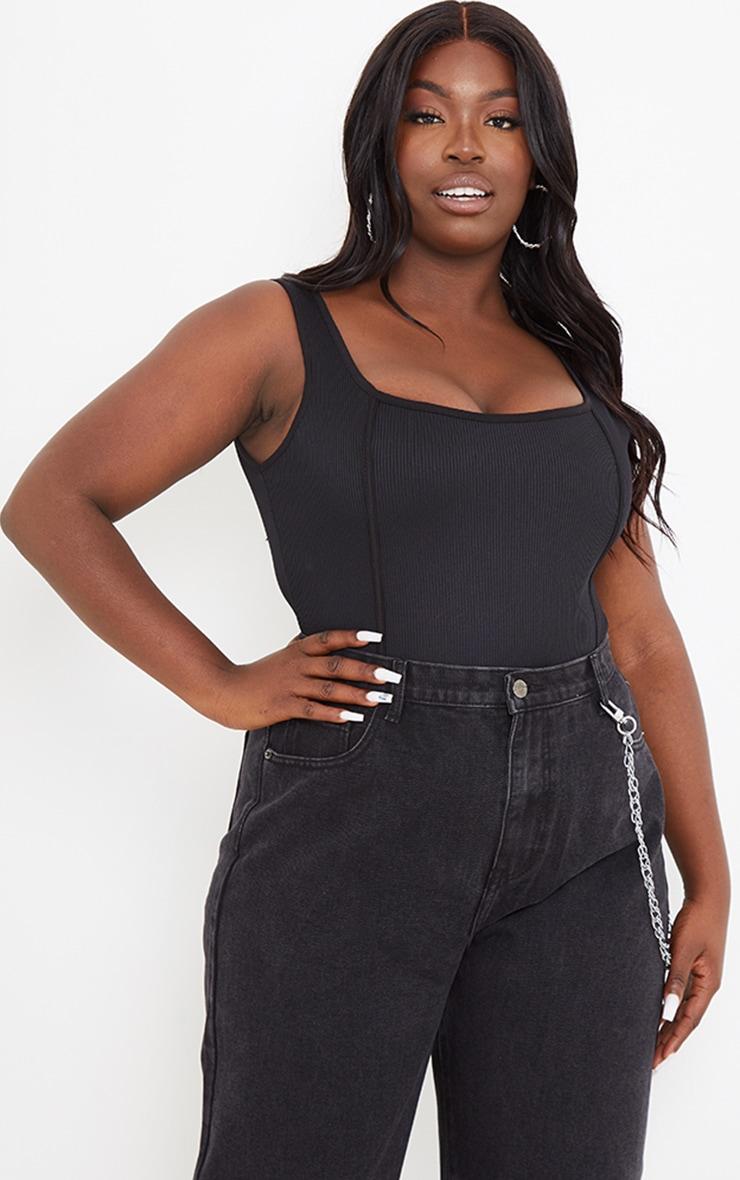 PLT Plus - Body côtelé noir à coutures contrastantes 1