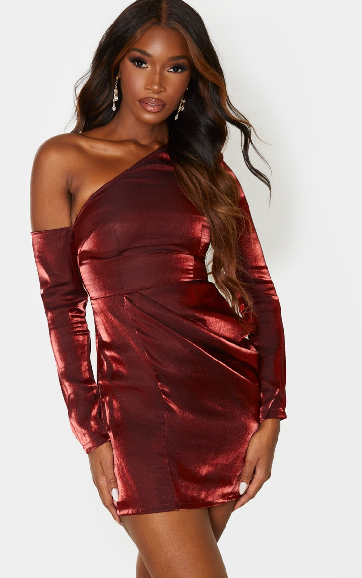 Red Metallic One Shoulder Drape Bodycon Dress 1