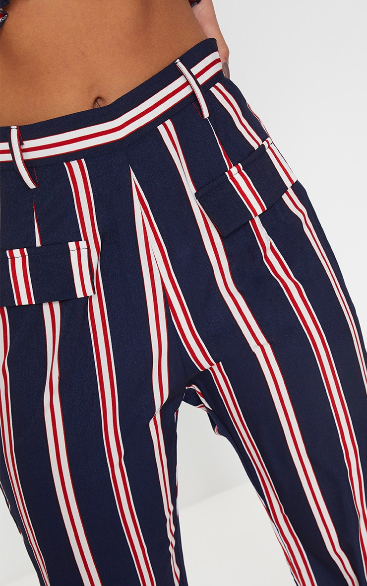 Petite Navy Stripe Wide Leg Pants 4
