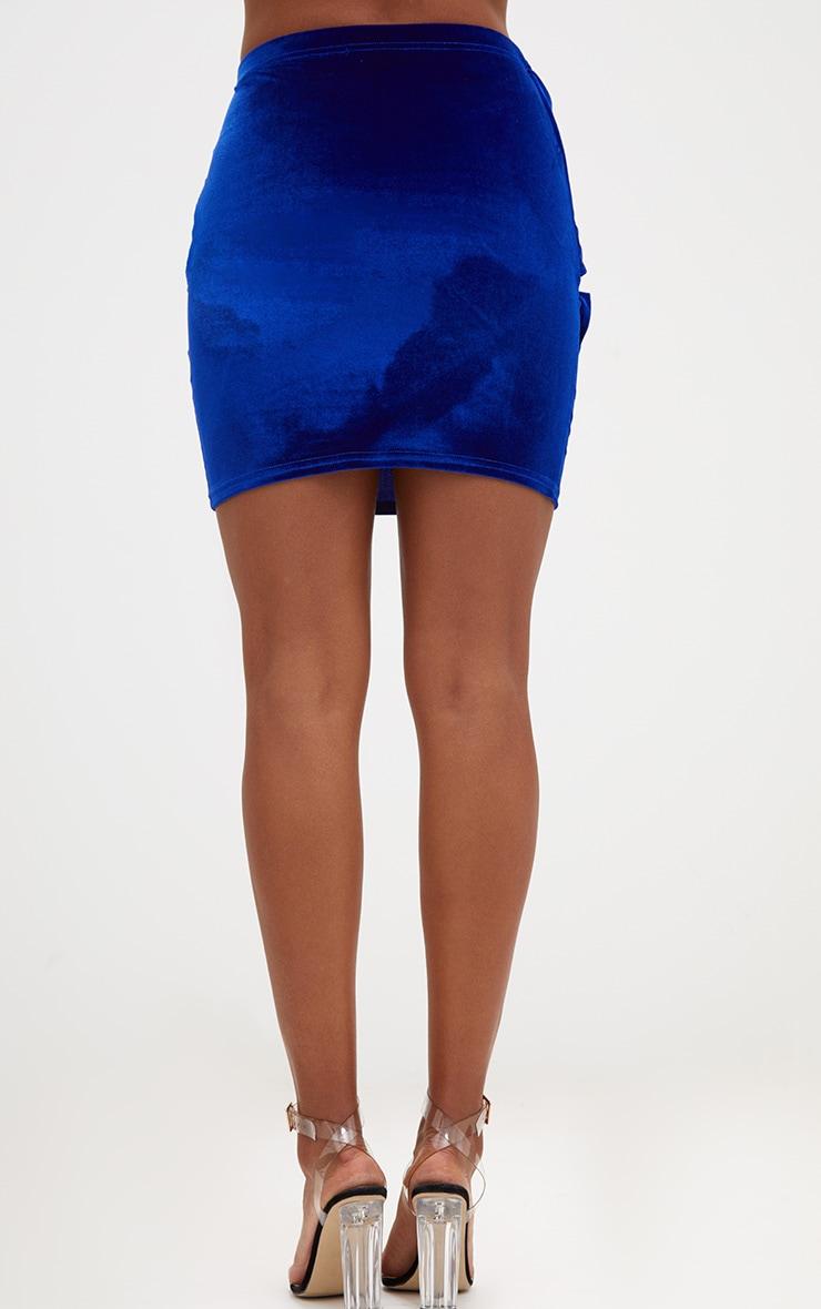 Cobalt Velvet Bow Mini Skirt 4