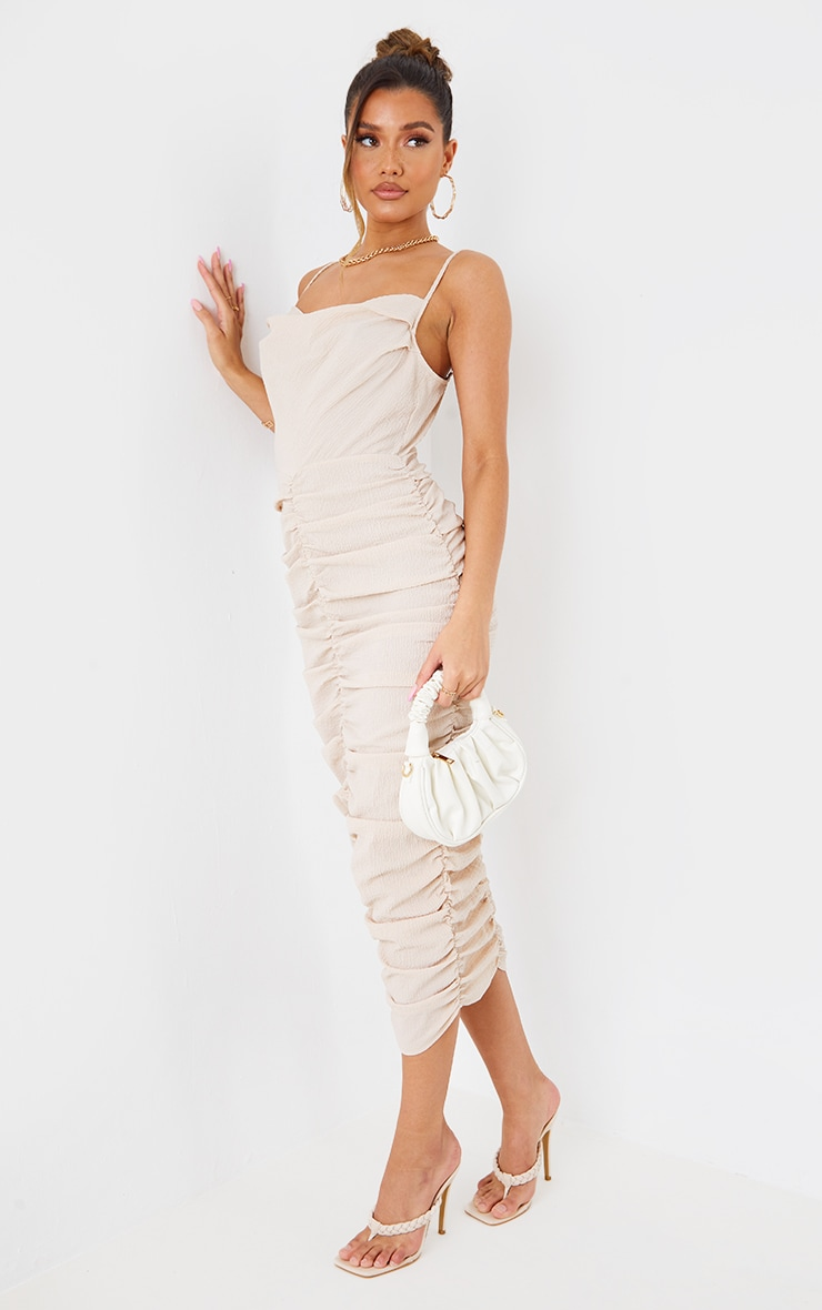 Stone Textured Strappy Cowl Neck Ruched Midaxi Dress 2